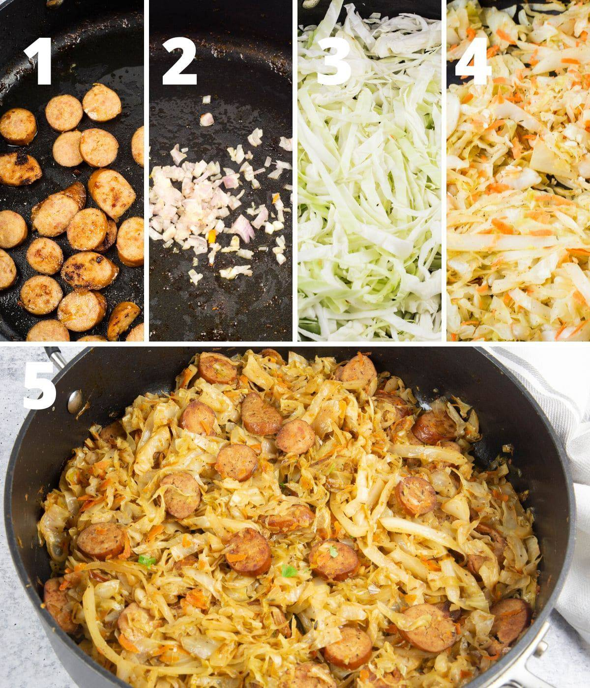 step by step instructions to make sausage and cabbage