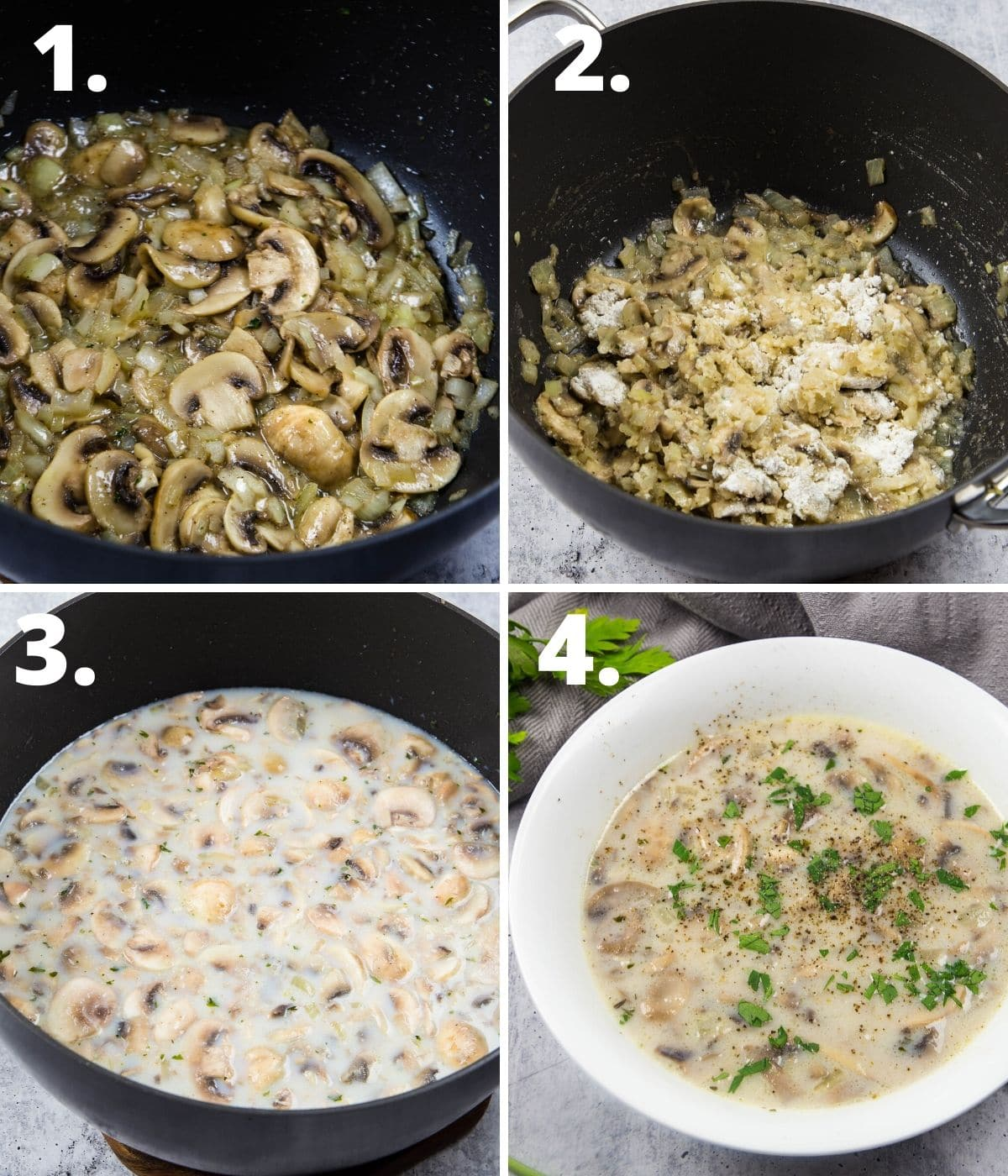 Step by step instructions to make creamy mushroom soup