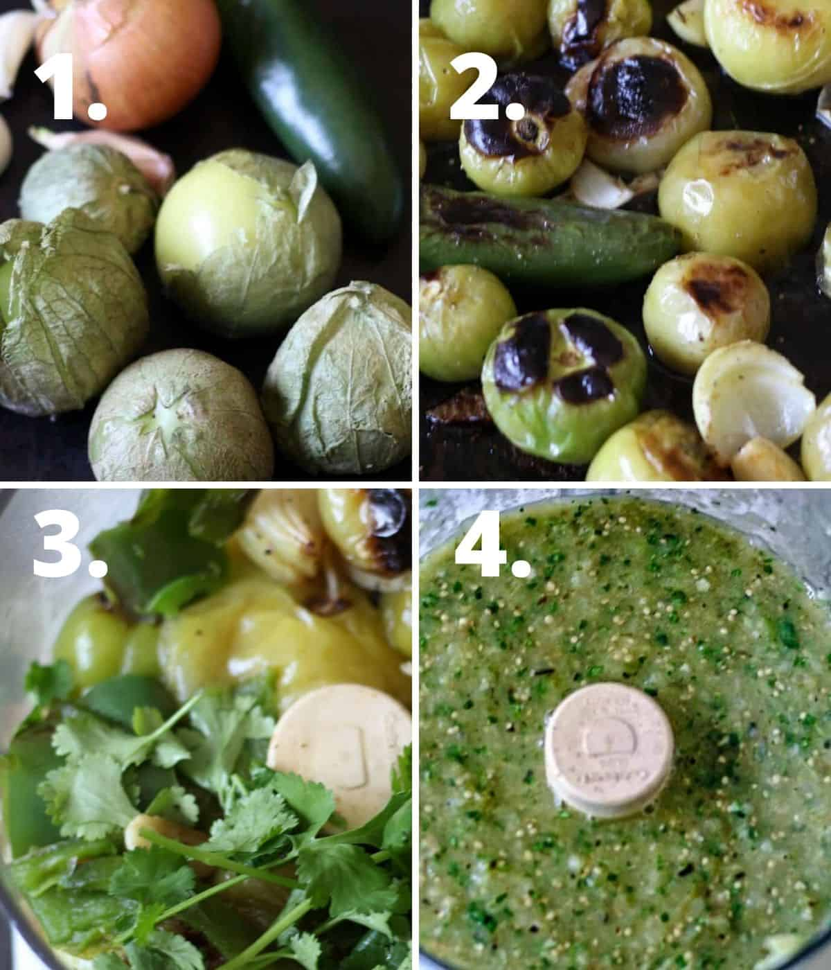 A step by step pictorial of how to make salsa verde in the food processor.