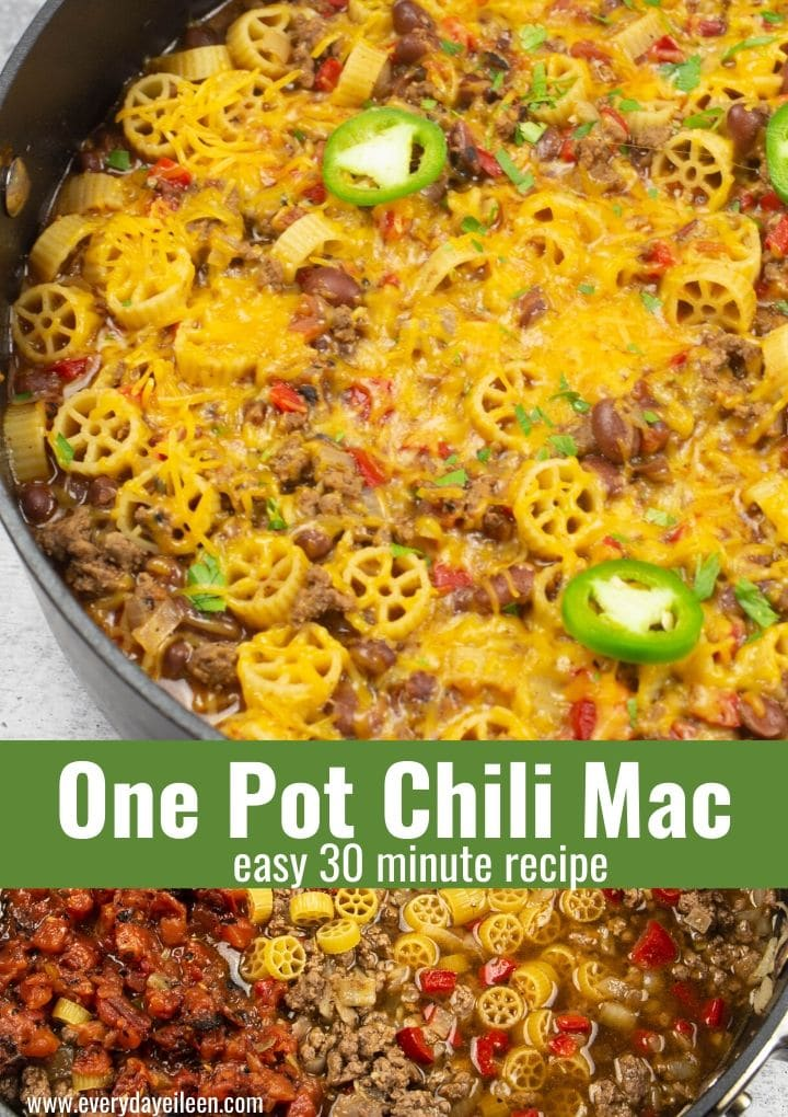 One pot Chili Mac recipe is ready in 30 minutes. An easy dinner recipe made with pasta, diced tomatoes,  ground beef with the option of using ground turkey, chicken, or vegan crumbles. Loved by kids and adults. Make an extra batch to freeze for later. #chilimacrecipe #chilimac #everydayeileen via @/everydayeileen/
