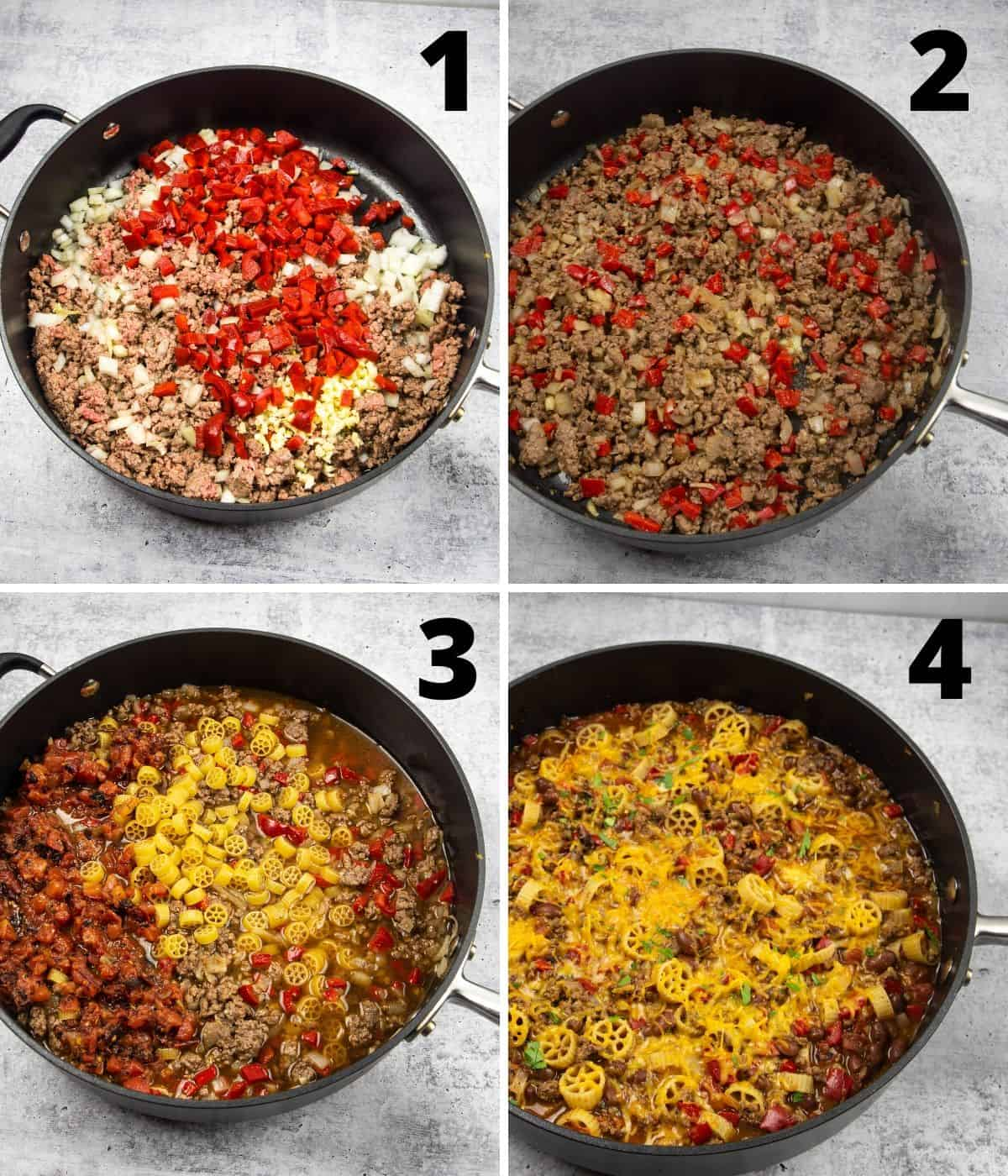 Step by step instructions on how to make a chili mac recipe