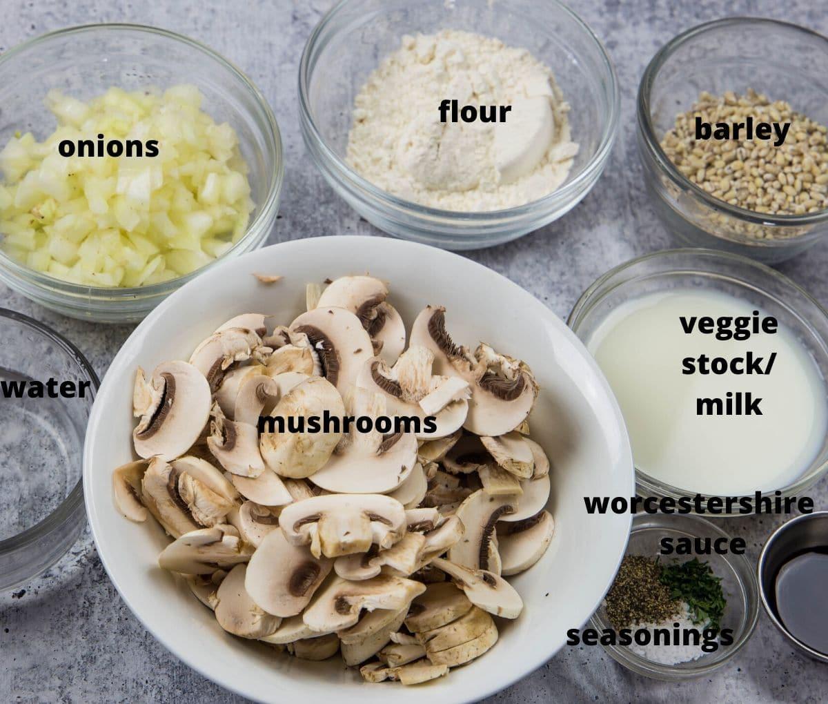 ingredients: mushrooms, onions, flour, barley, liquids, and seaassooning to make mushroom barley soup.