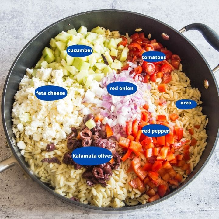 the ingredients for greek orzo salad, cucumbers, feta cheese, tomatoes, red pepper, Kalamata olives, red onions in a large pan.