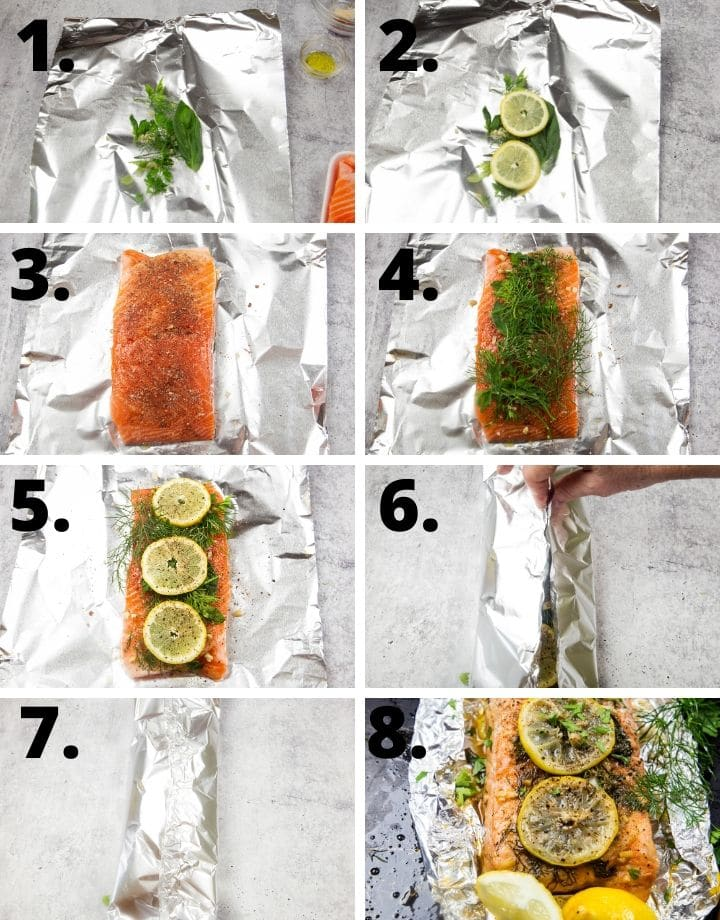 step by step pictorial to make foil wrapped salmon