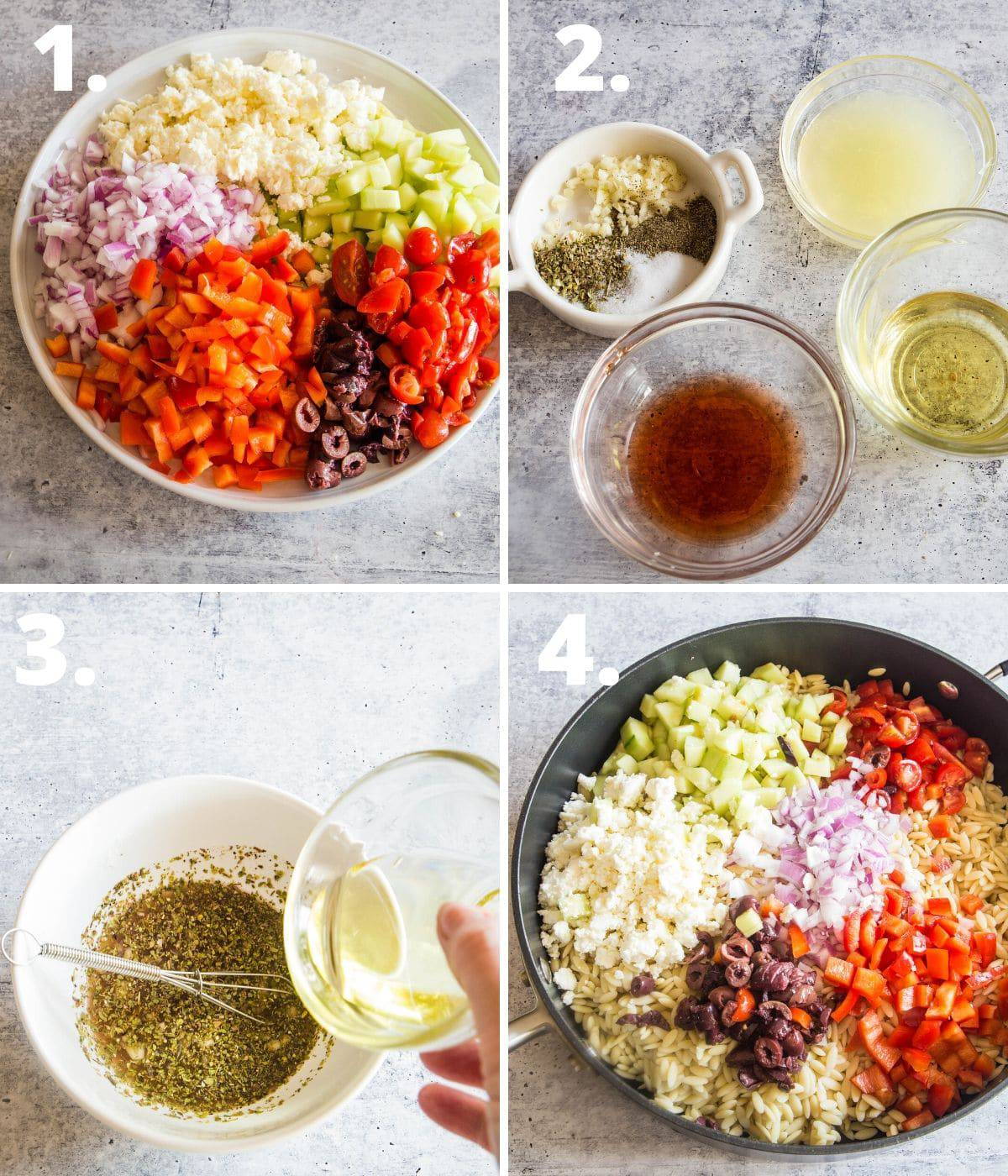 Step by step instructions for making orzo salad