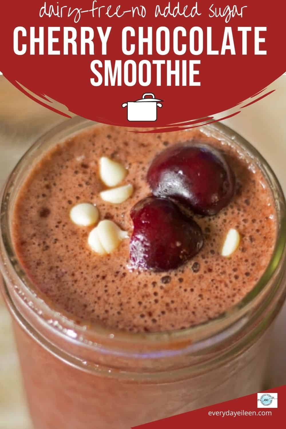 A tasty mouthwatering Cherry Chocolate Smoothie to quench your thirst after a workout or get your day started. Fresh cherries and chocolate make a great combo that tastes like a dessert without the calories.  #cherries #chocolate #cherrychocolatesmoothie  #everydayeileen
