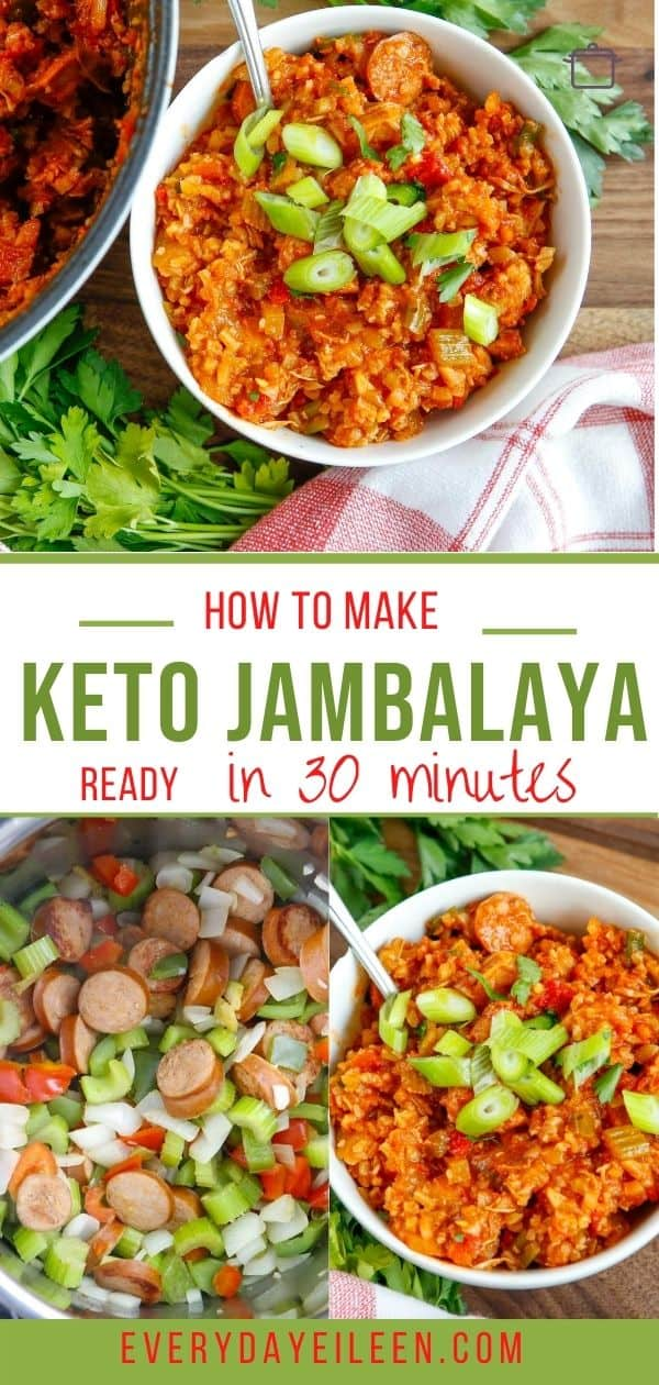 Keto Jambalaya is a spicy one-pot meal made with shrimp and andouille sausage served with cauliflower rice. Ready in 30 minutes. Perfect for a crowd. #ketojambalaya #jambalaya #keto30minutemeals. #everydayeilleen via @/everydayeileen/