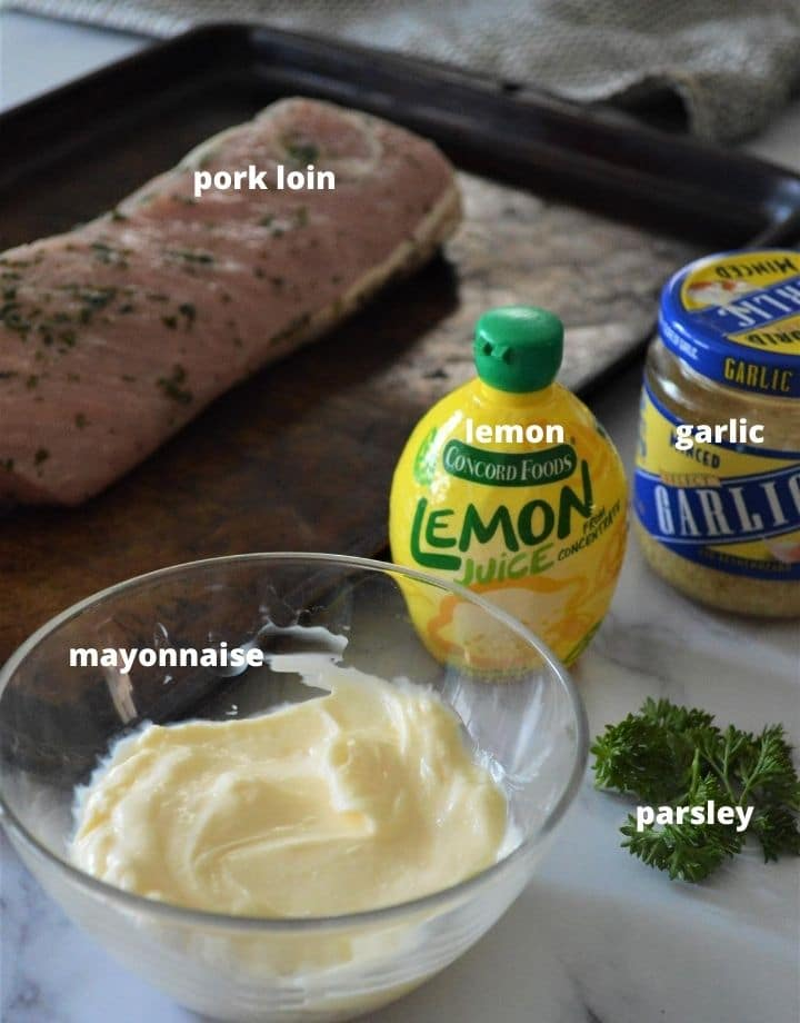 The ingredients to make pork loin with lemon herb sauce.