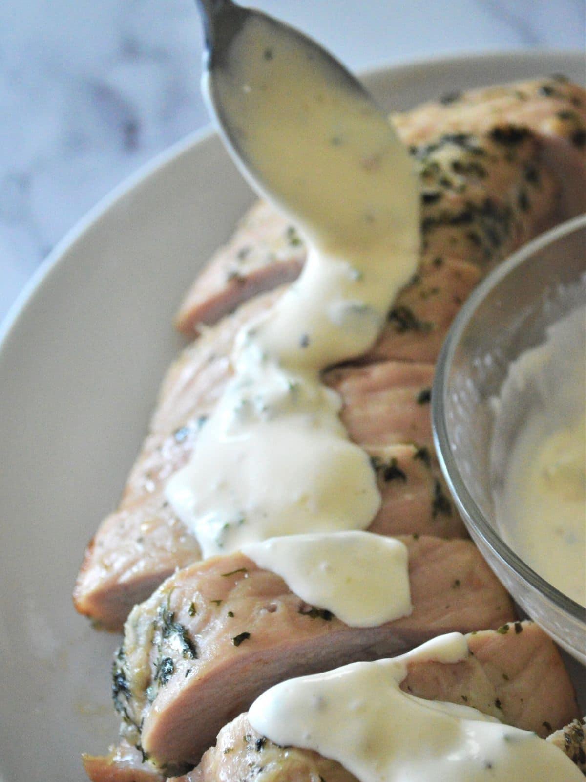 Roasted sliced pork topped with a smooth lemon aioli.