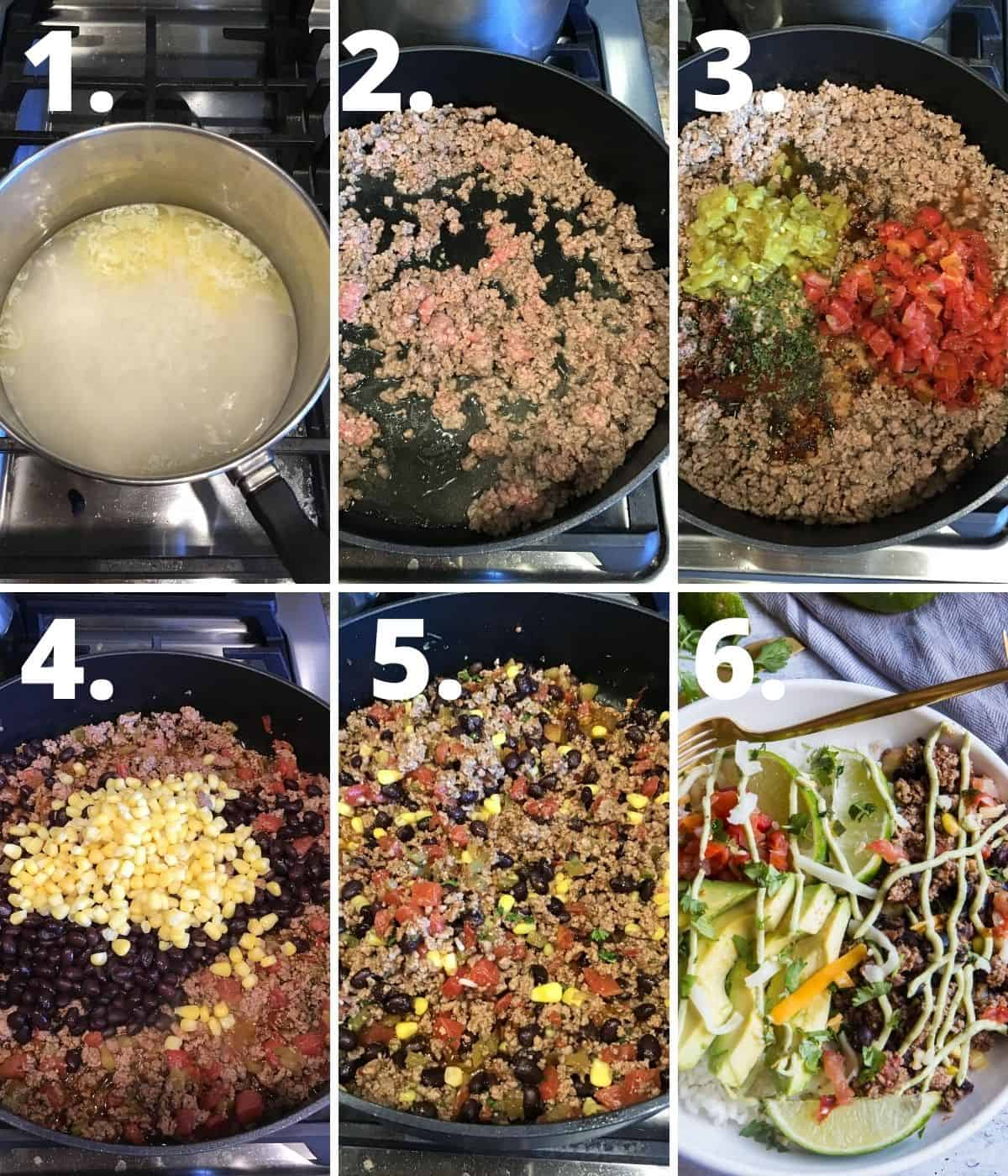 Step by step instructions for beef burrito bowls