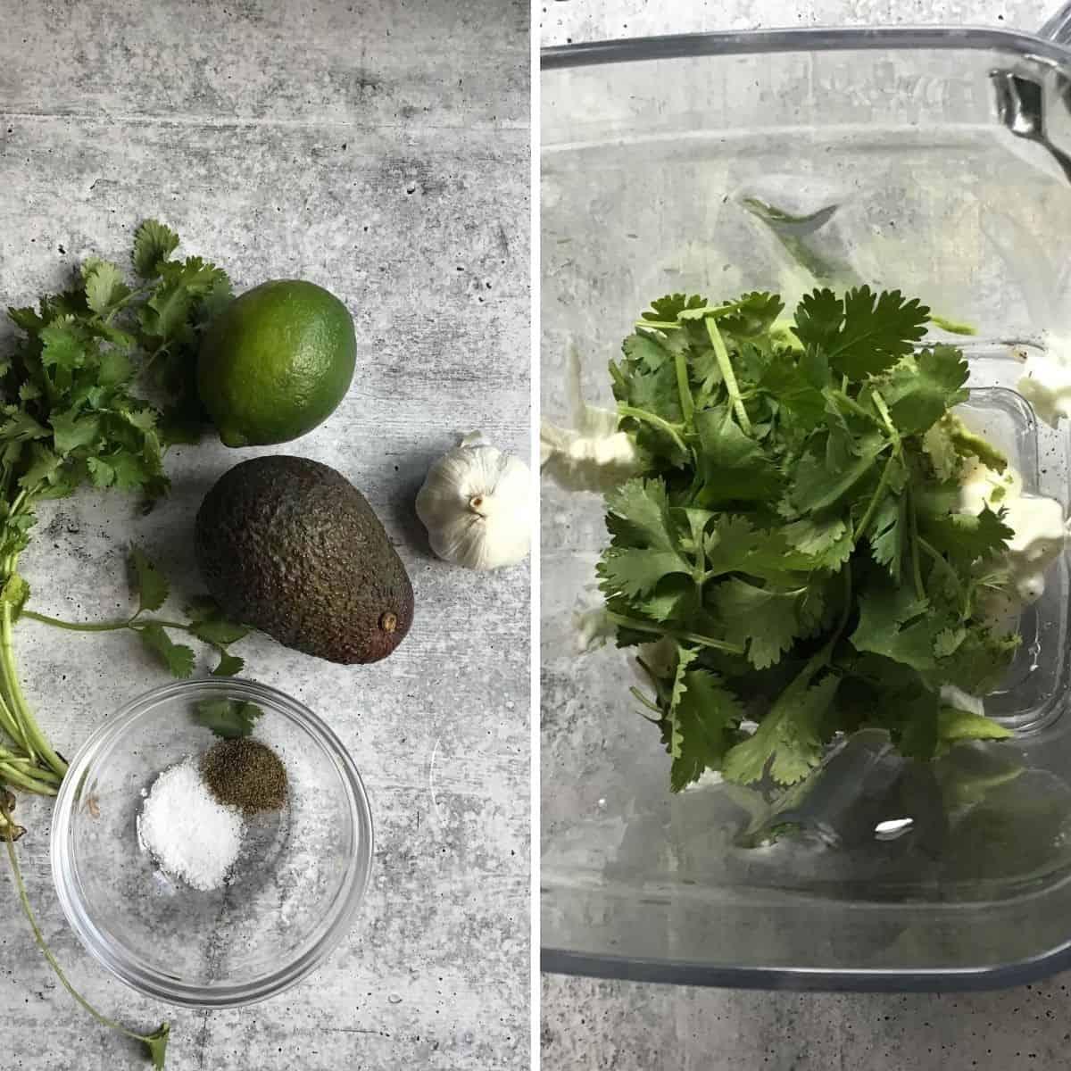 Ingredients to make avocado crema