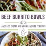 collage of photos depicting beef burrito bowls