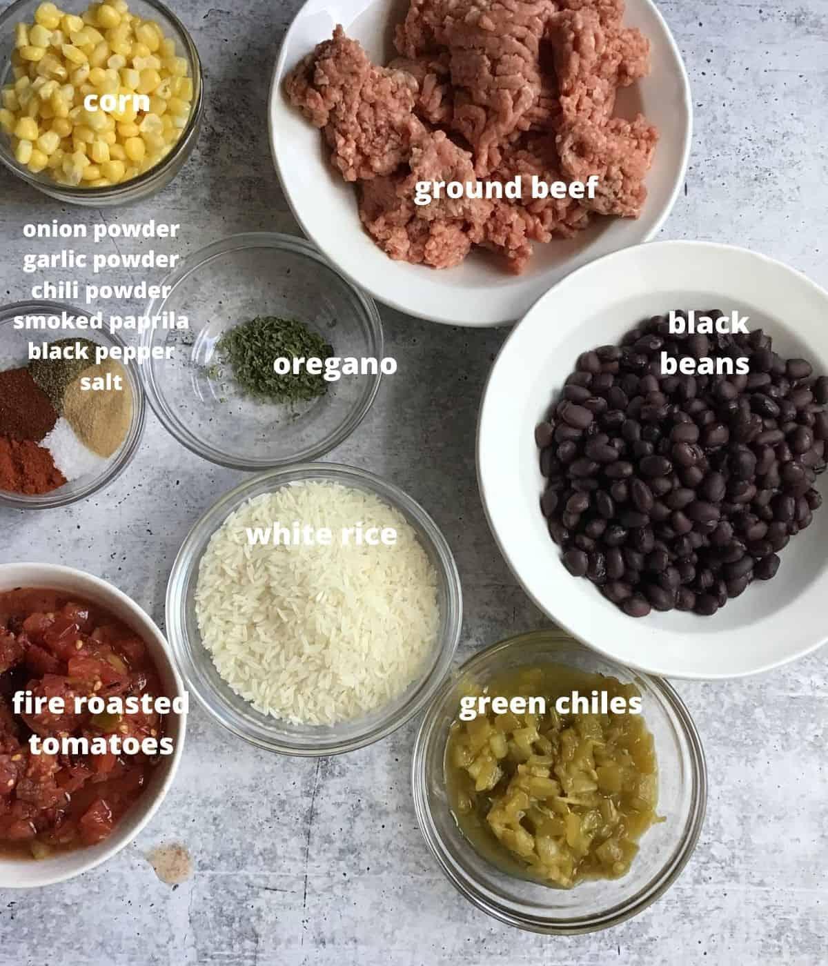 ingredients to make a beef burrito bowl recipe