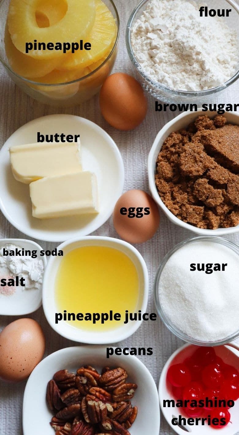 Ingredients to make a pineapple upside down cake.
