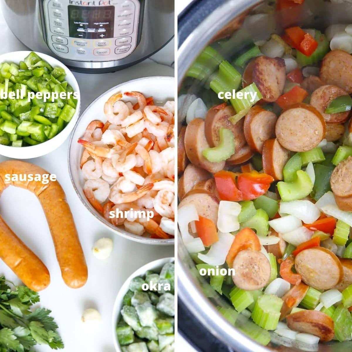 the Some of the ingredients to make instant pot gumbo, shrimp, sausage, celery, okra, peppers, onions