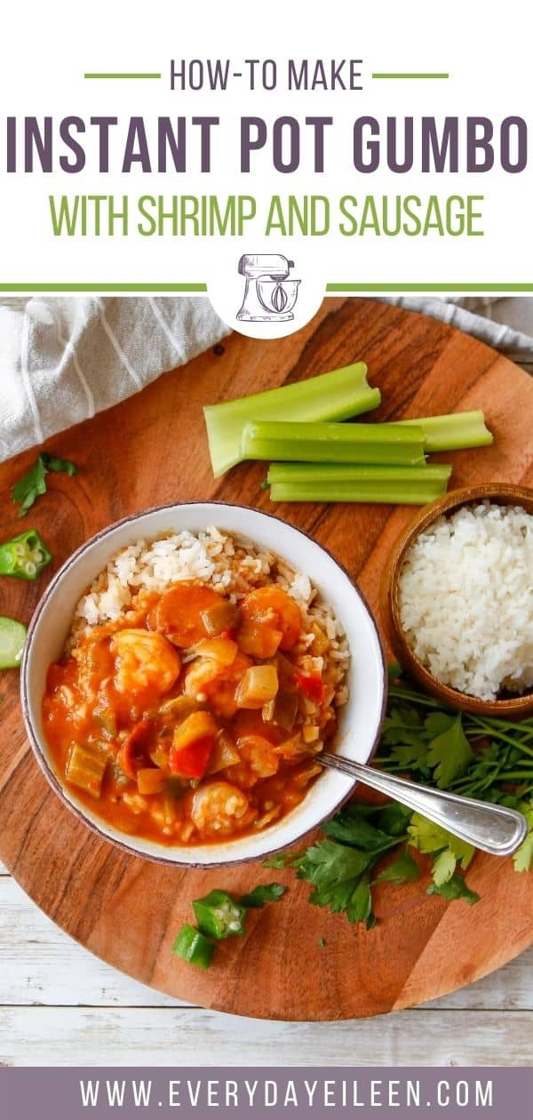 Easy Instant Pot Gumbo made with shrimp and sausage is a tomato-based and loaded with Creole seasoning and okra. All served over a bed of fluffy rice. Great for a weeknight dinner, parties, family gatherings, watch parties, tailgating. #instantpotgumbo #shrimpandsausagegumbo #instantpotgumboshrimp #everydayeileen  via @/everydayeileen/