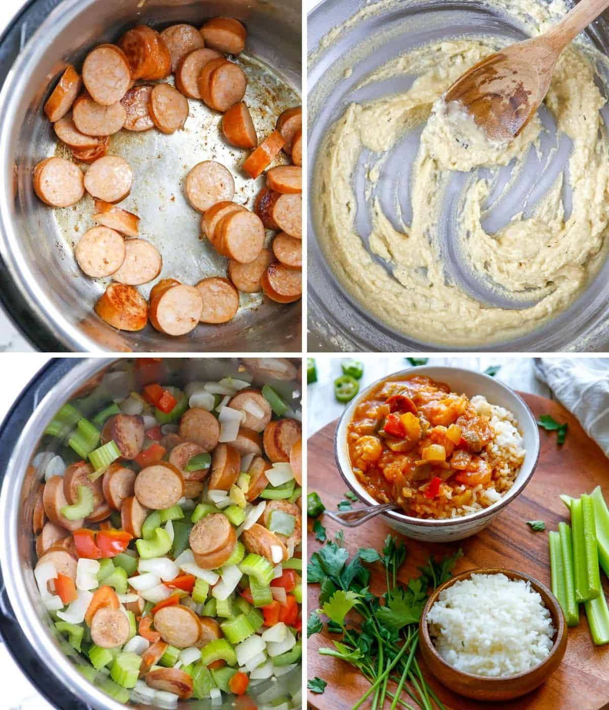 step by step instructions to make instant pot gumbo