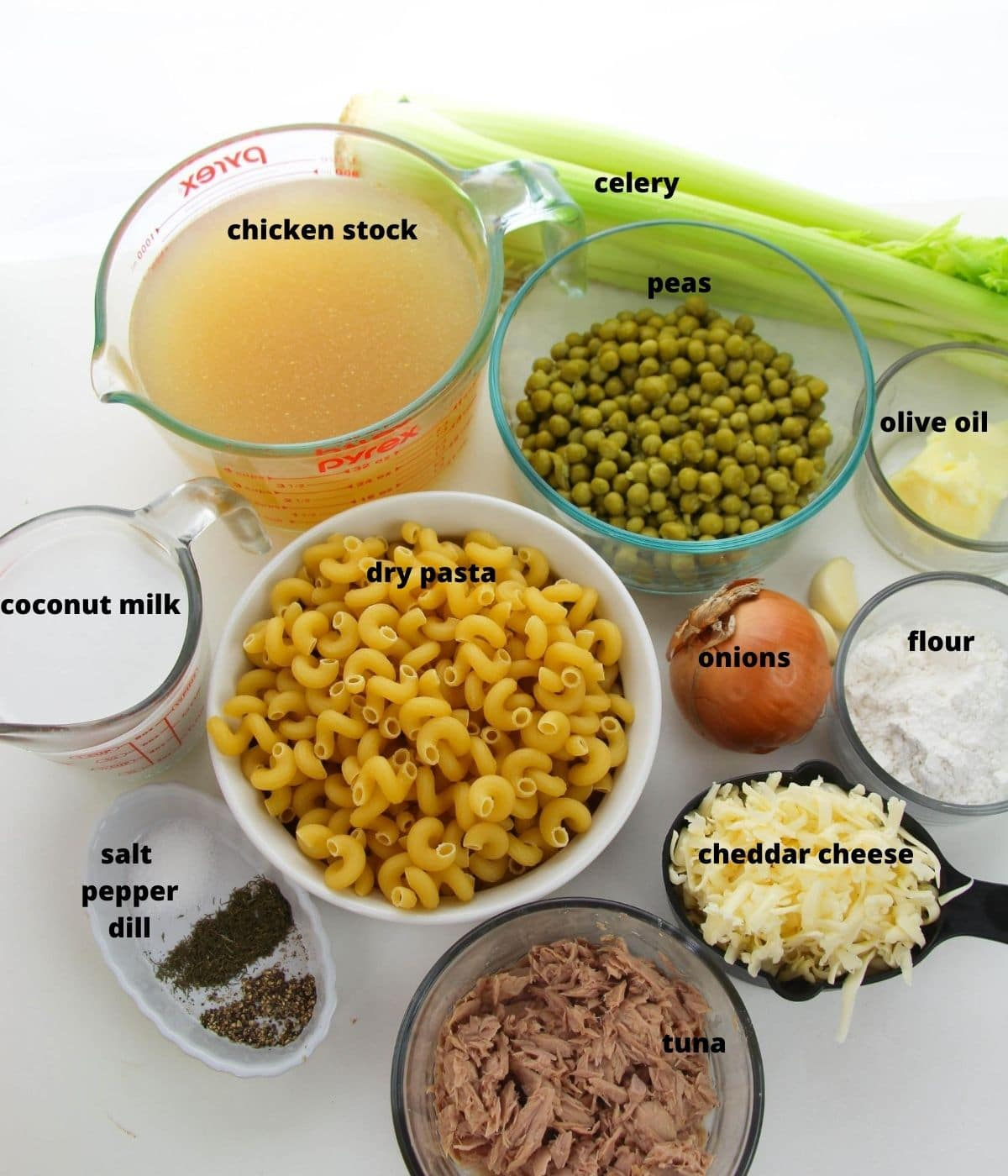 ingredients to make tuna noodle casserole