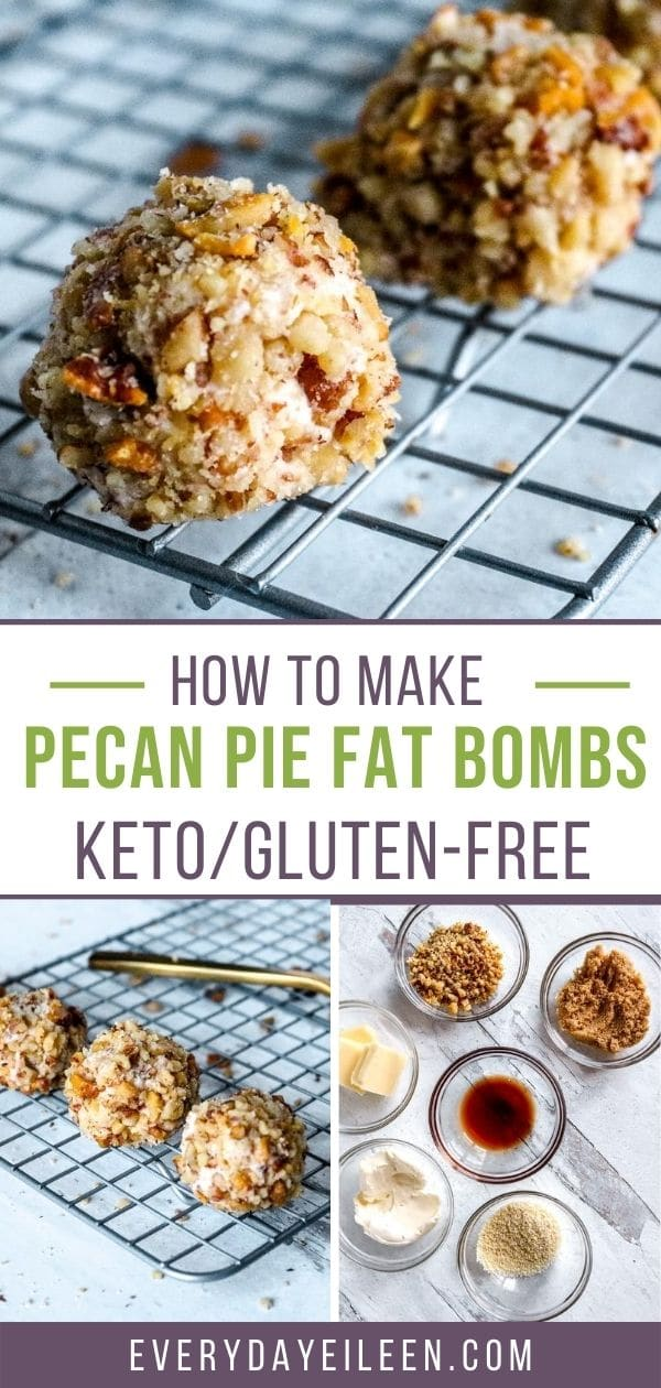 Easy to make Pecan Pie Keto Fat Bombs, is low-carb and no-bake. Made with cream cheese, swerve brown sugar, and loaded with pecans. A delicious energy snack. Keeps well in the fridge for 2 weeks. @ketopecanpiefatbomb #ketofatbomb #fatbomb #everydayeileen via @/everydayeileen/