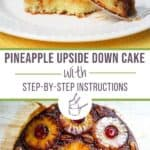 A collage of photos of an upside down cake