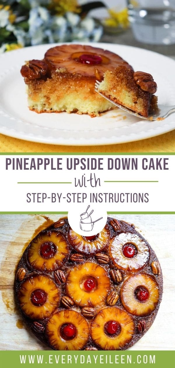 Cast Iron Pineapple Upside Down Cake, a from scratch homemade moist and delicious yellow cake. Topped with a yummy caramelized pineapple, pecans, and maraschino cherry topping. A retro dessert everyone loves. #castironpineappleupsidedowncake #pineappleupsidedowncake #castironbaking #everydayeileen via @/everydayeileen/