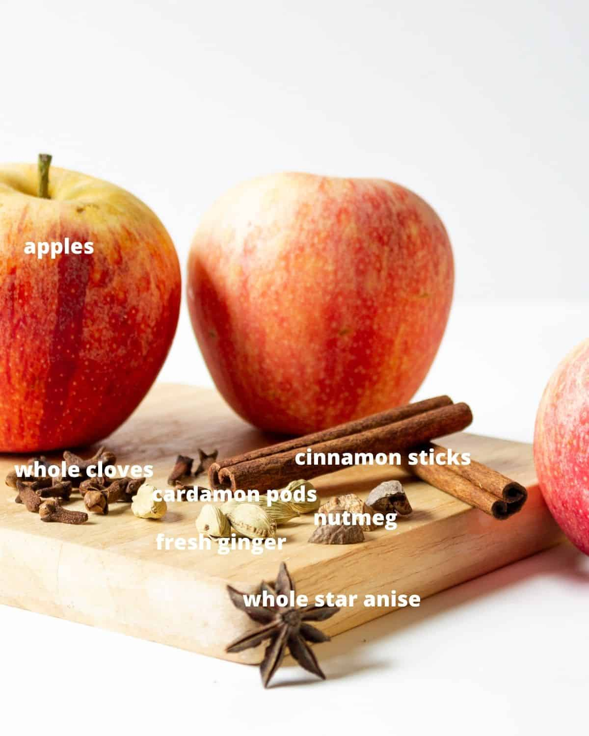The core ingredients to make apple pie vodka