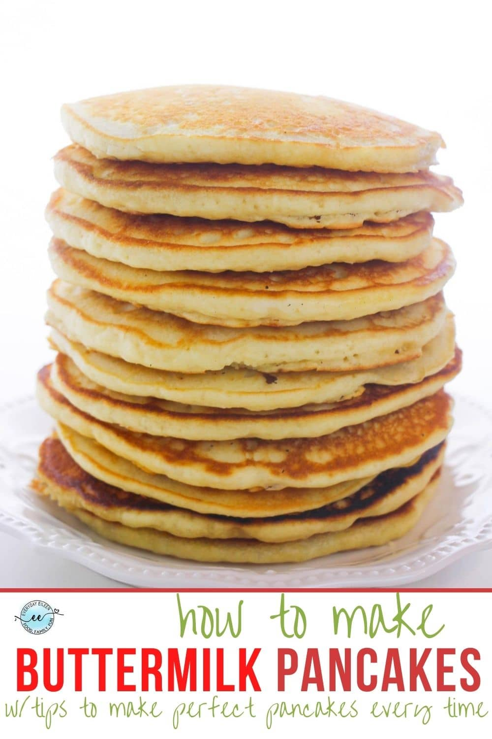 Enjoy these homemade, from scratch, light, and airy fluffy buttermilk pancakes. They'll blow away any box made pancake and they are super easy to prepare. They freeze well so make a double batch. Easy step by step instructions for the best pancakes every time. Add in your favorite berries or chocolate chips. #buttermilkpancakes #fluffybuttermilkpancakes #pancakerecipe via @/everydayeileen/