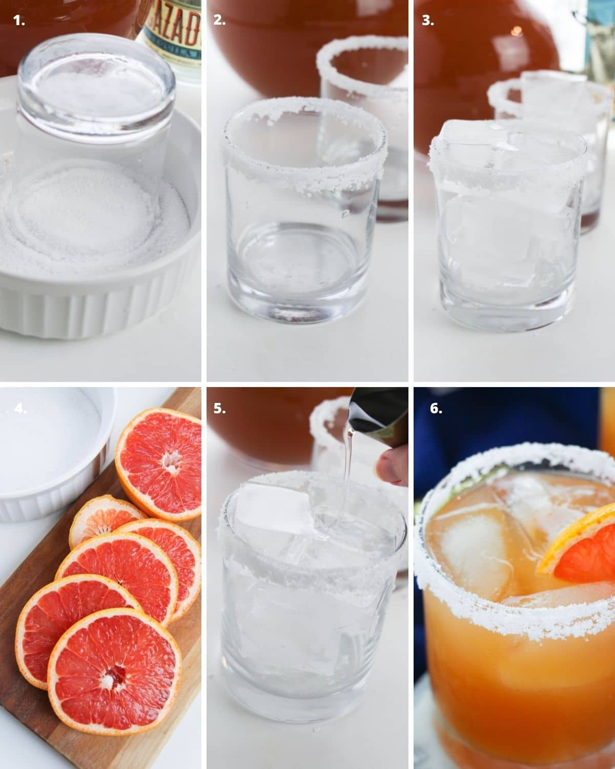 Step by step instructions to make grapefruit margaritas.