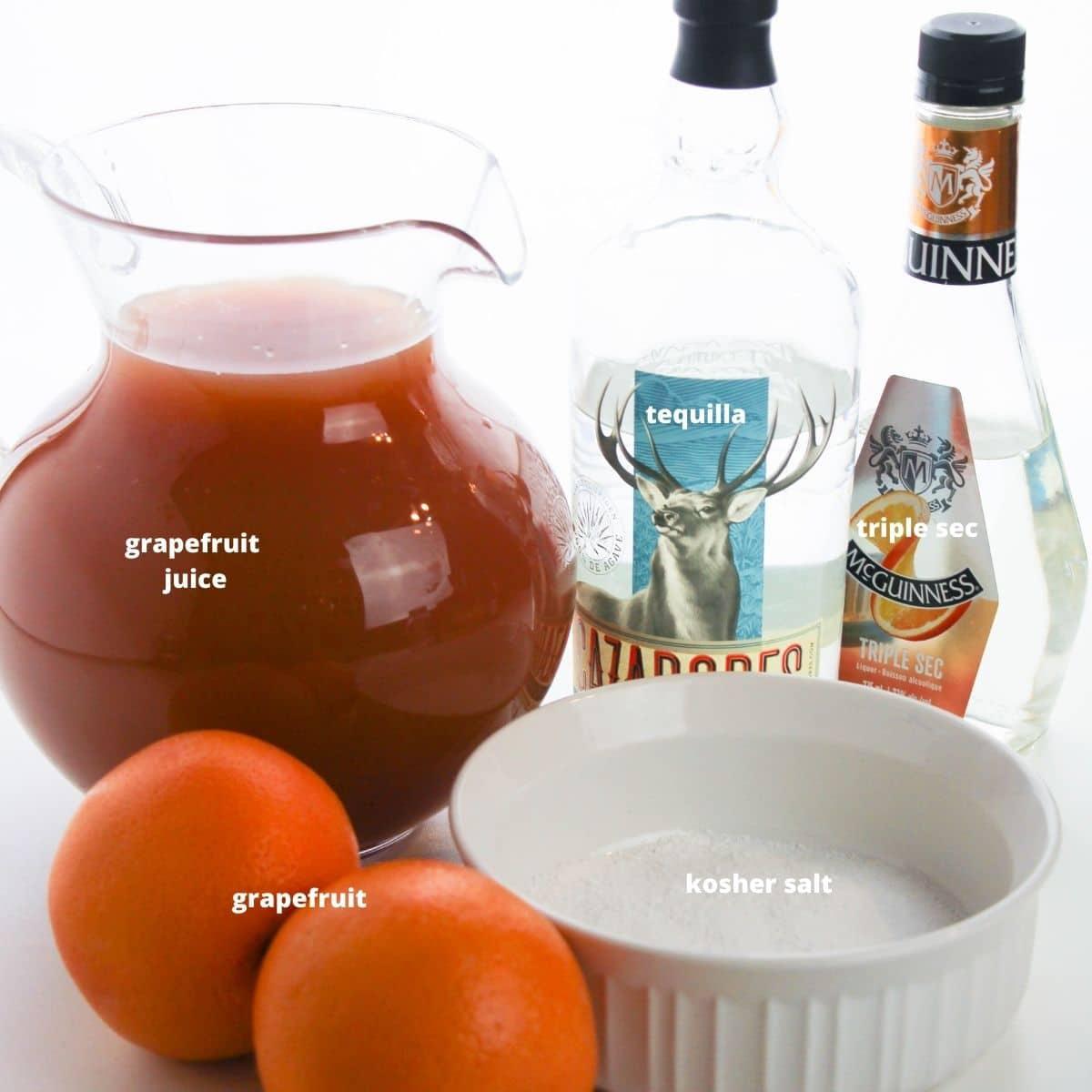 ingredients to make grapefruit margarita