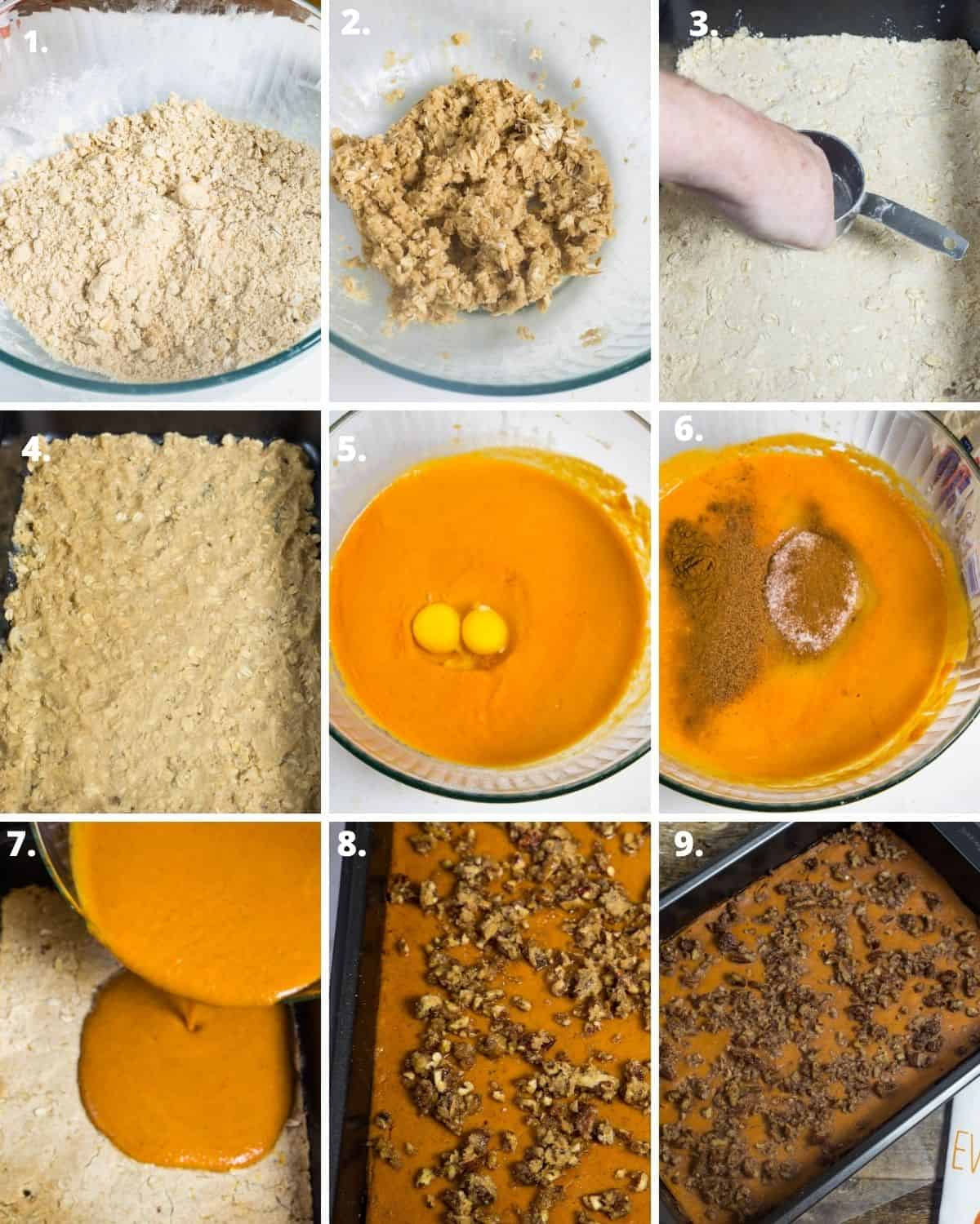 step by step pictorial to make pumpkin pie bars