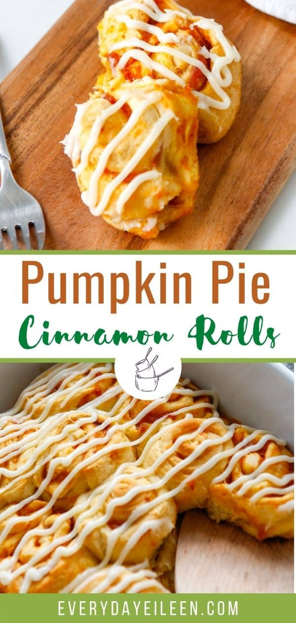 Pumpkin Cinnamon Rolls recipe made with refrigerated crescent dough so no yeast or flour needed. The filling is pumpkin puree perfectly seasoned with pumpkin pie spices. The rolls are topped with a decadent cream cheese frosting. Serve for breakfast and brunch. #pumpkincinnamonrolls #pumpkinrolls #pumpkinpierolls #everydayeileen via @/everydayeileen/