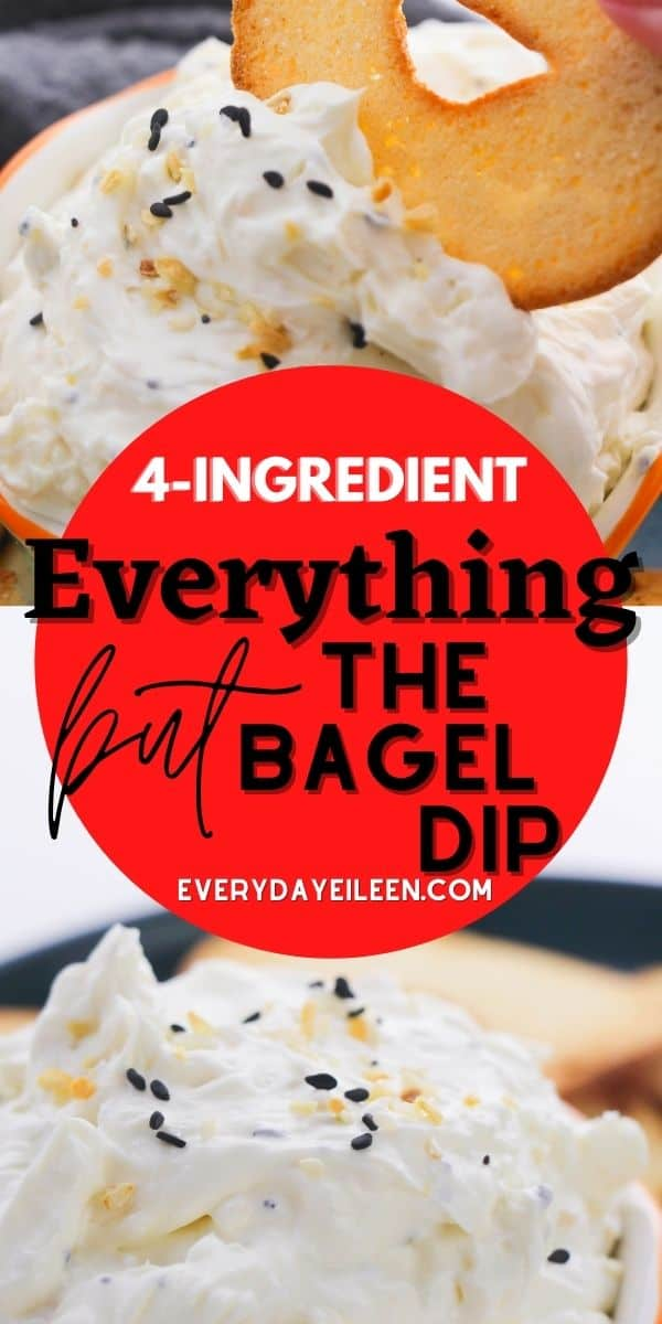 Easy copycat Trader Joe Everything But the Bagel Dip with just 4 ingredients. Use either homemade or store-bought everything but the bagel seasoning. This super simple recipe is ready in minutes and just perfect with bagel chips, veggies, or crackers. #everythingbutthebageldip #everythingbageldip #traderjoebageldip #everydayeileen via @/everydayeileen/