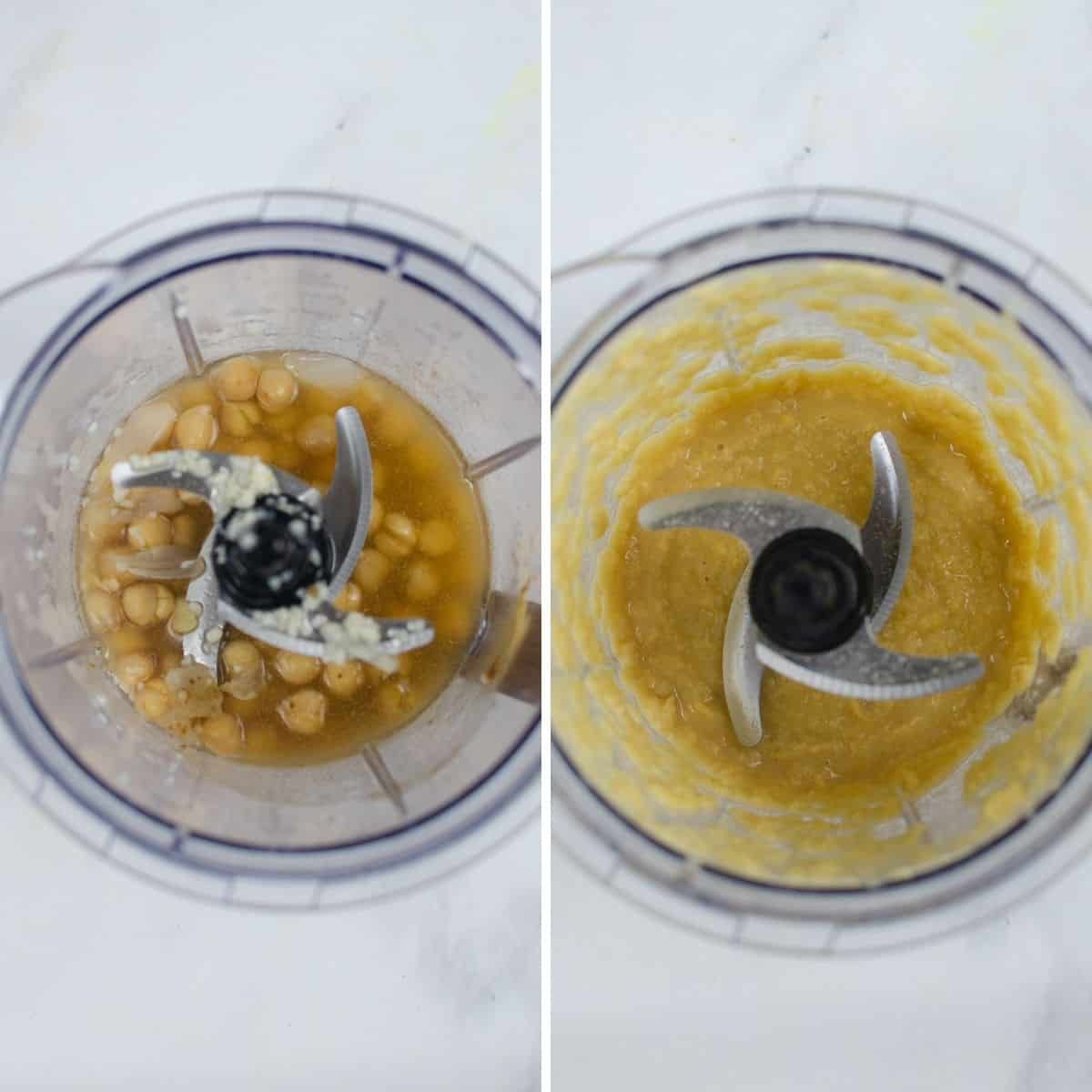 The process steps to make homemade hummus being blended in a blender/