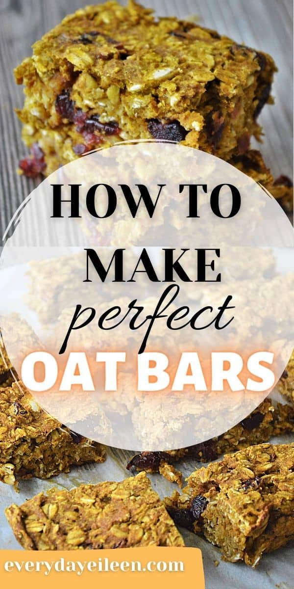 Pumpkin Cranberry Oat Bars, soft baked and chewy breakfast treats. They have the bold flavors of pumpkin blended with sweet dried cranberries for an amazing breakfast or snack treat. These freeze well so make a double batch and use for meal planning. #oatbarrecipe #pumpkinbreakfast #breakfastbars #everydayeileen  via @/everydayeileen/