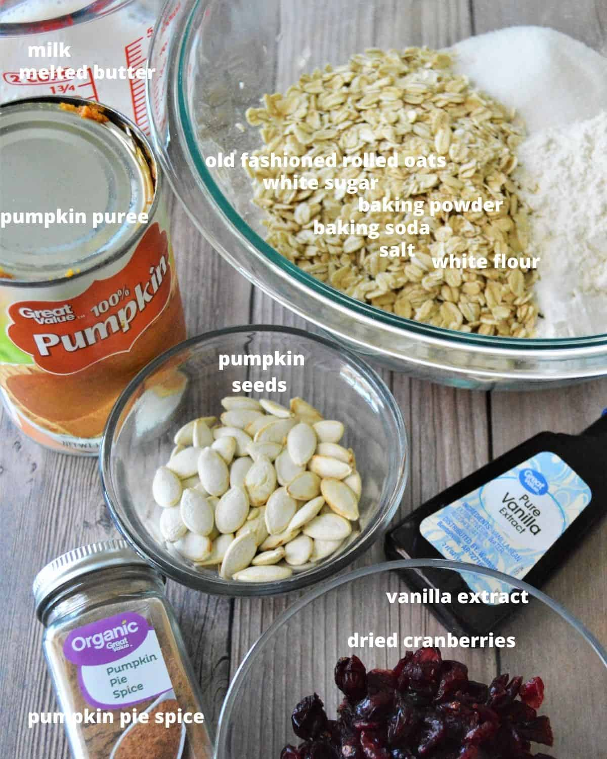 the ingredients to make pumpkin cranberry oat bars