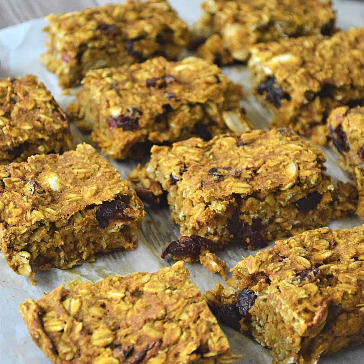 Breakfast oat bars sliced and ready to be eaten.