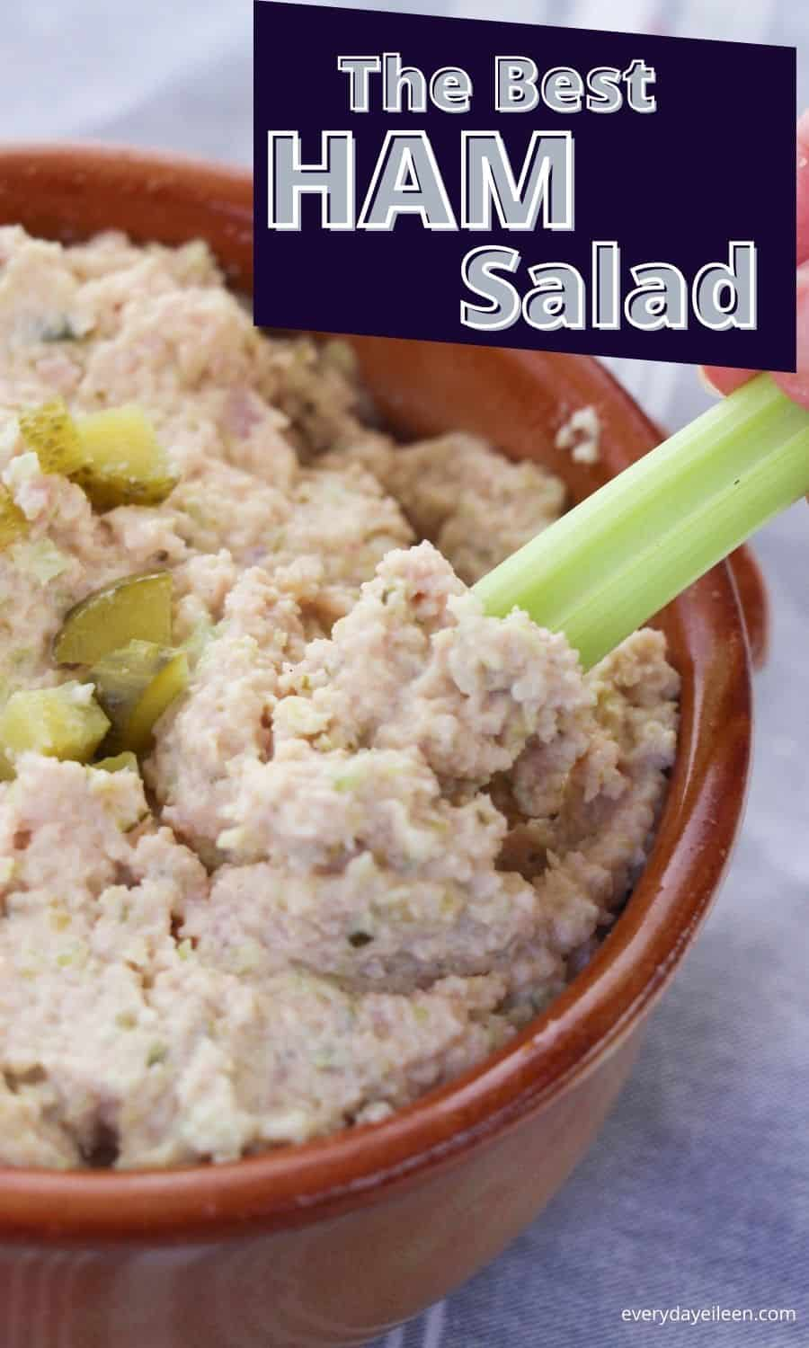 Ham Salad, absolutely delicious and a great recipe that can use leftover ham. A tasty salad made with diced ham and pickles in a mayonnaise based sauce. It's perfect on rolls or bread. Make it low-carb and serve in lettuce wraps or with veggies. #ham salad #leftoverhamrecipe #southern food #everydayeileen via @/everydayeileen/