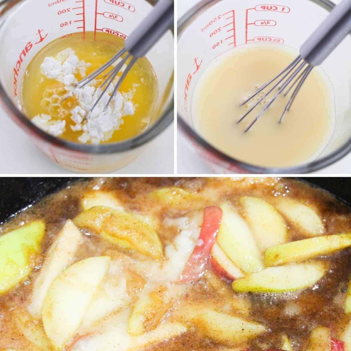 A collage of photos, adding cornstarch to apple cider, then whisking it in and then adding to apples in a cast iron skillet.