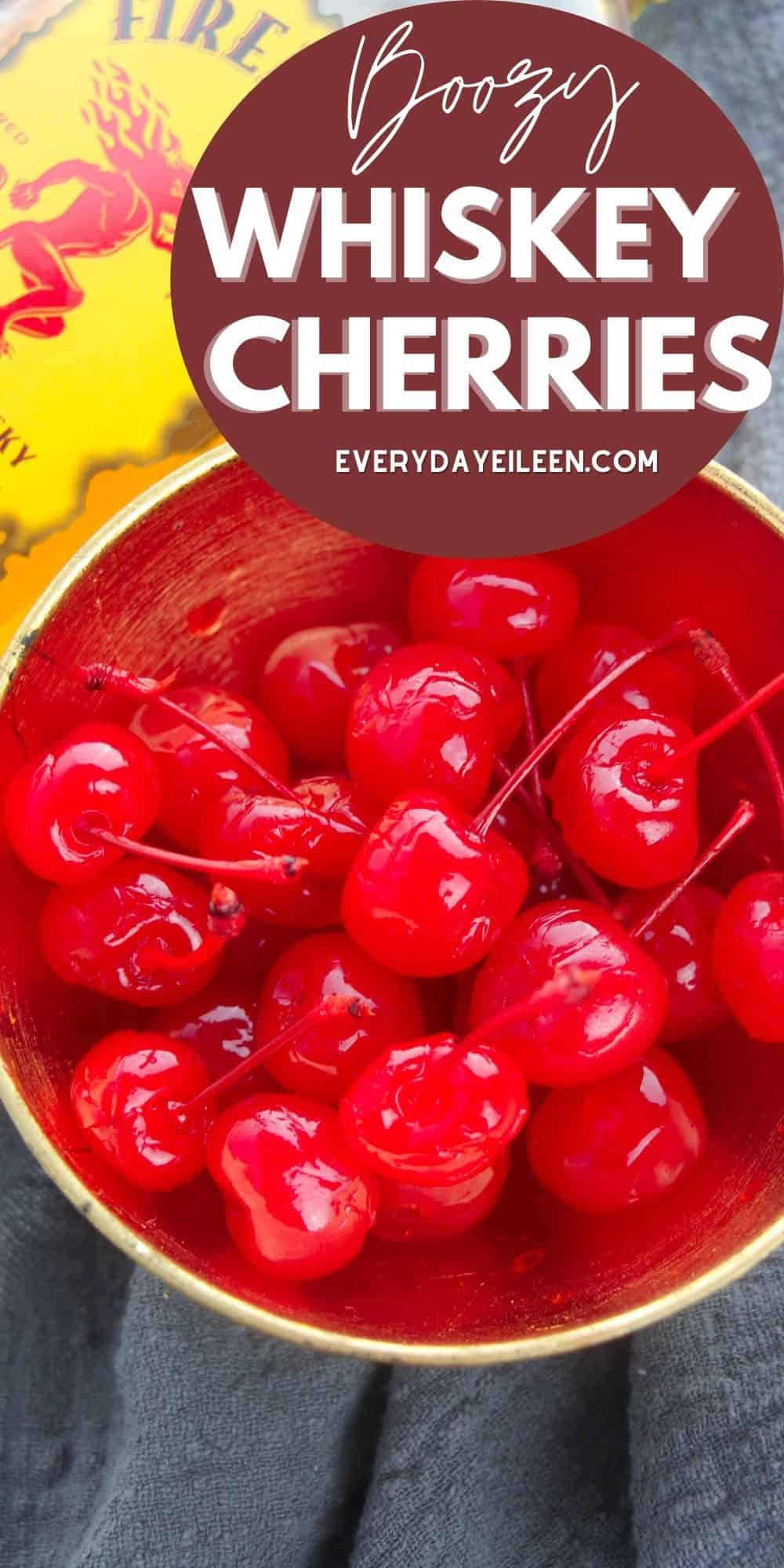 Maraschino Cherries infused with Cinnamon Whiskey are a fabulous treat. Great for the adults at parties or drink garnishes. A wonderful gift for family and friends. #boozycherries #drunkencherries #everydayeileen #foodgifts  via @/everydayeileen/