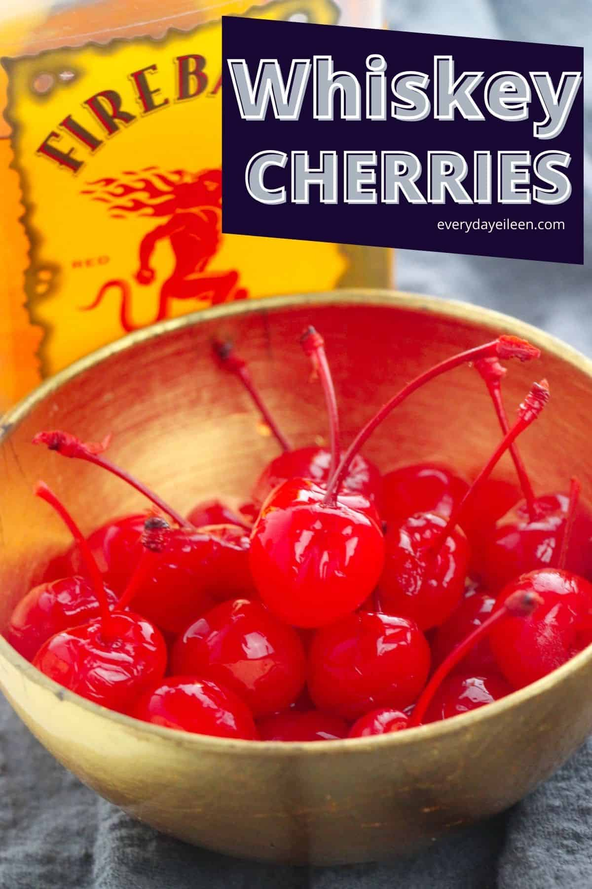Whiskey infused cherries are the perfect treat for any time of year. Maraschino cherries are soaked in Cinnamon Whiskey to make a decadent treat. Perfect on top of desserts, hot chocolate, Irish coffee, in cocktails. Great as a hostess or Holiday gift. #whiskeycherries #fireballcherries #hostessgifts #everydayeileen via @/everydayeileen/