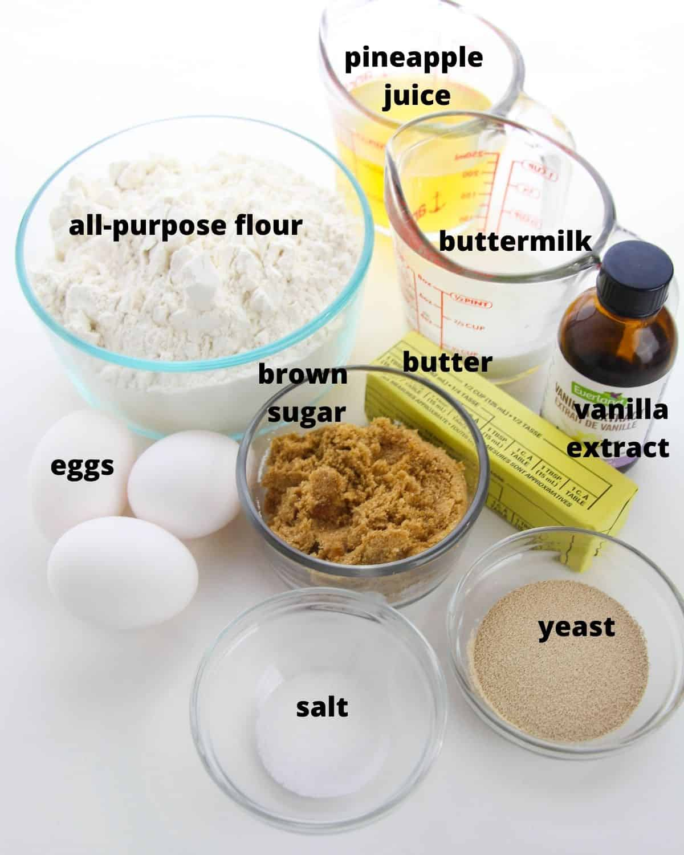 The ingredients to make Hawaiian sweet rolls