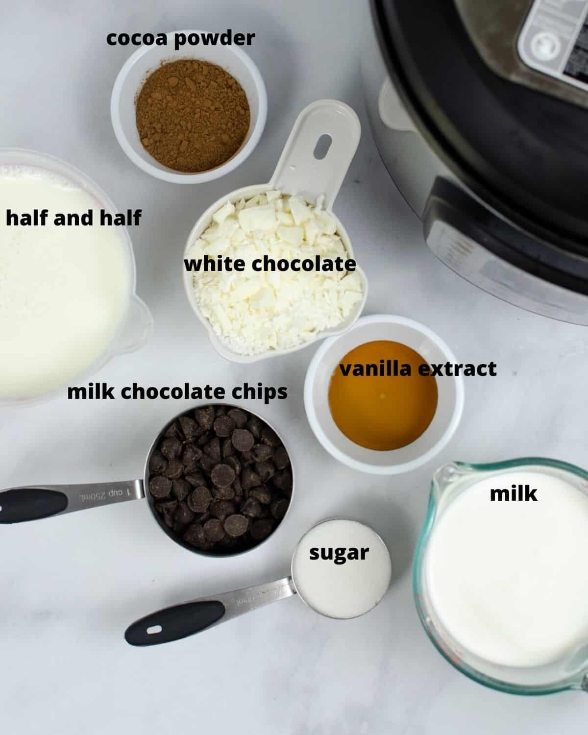 ingredients to make instant pot hot chocolate