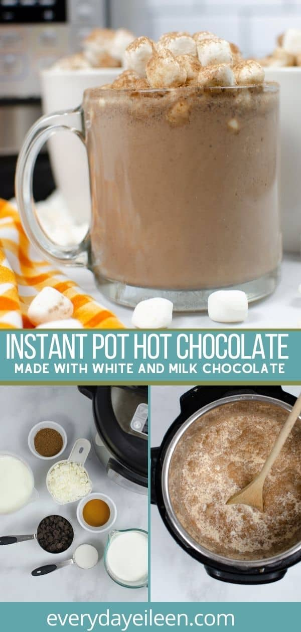 Instant Pot Zebra Hot Chocolate, a Starbucks copycat is a silky warm decadently delicious hot cocoa drink made with velvety white chocolate and gooey chocolate chips resulting in a frothy cup of yum. Top with your favorites such as peppermint candies, cocoa powder, marshmallows. #instantpotzebrahotchocolate #hotchocolate #hotdrinks #everydayeileen via @/everydayeileen/