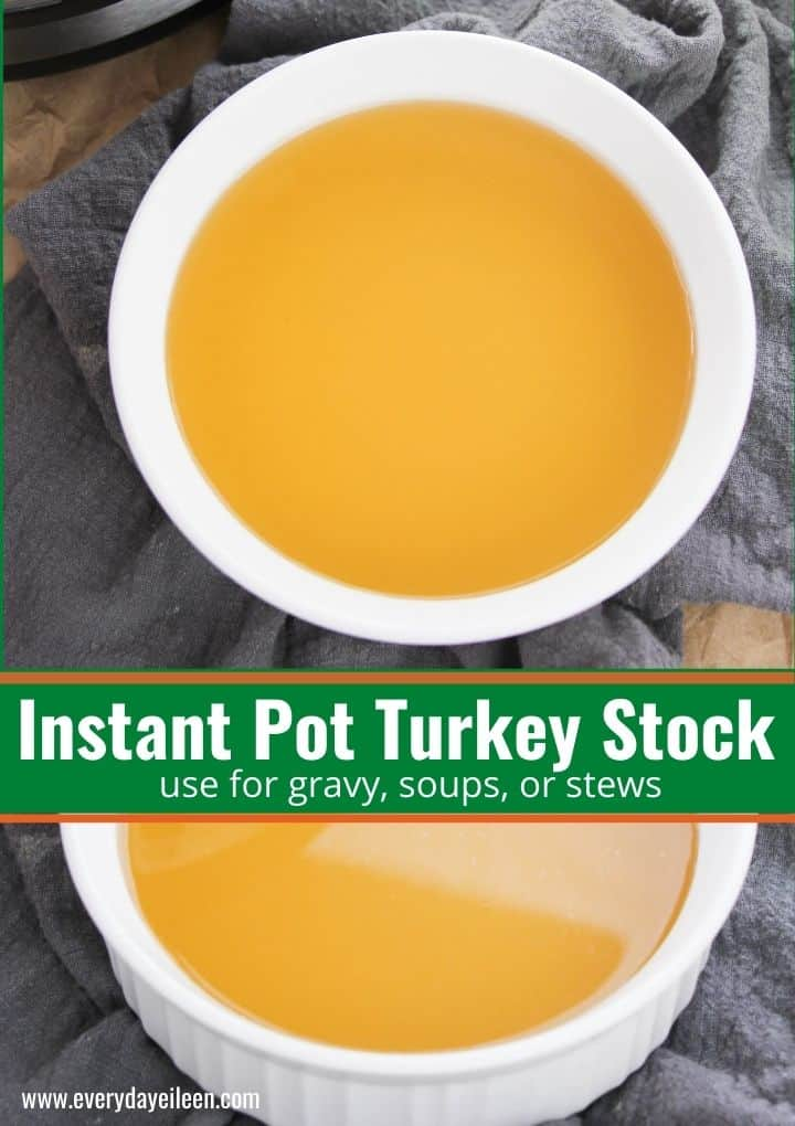 Homemade Instant Pot Turkey Stock, use the turkey carcass the make an aromatic broth that makes the most flavorful gravy, soups, and stews. The perfect way to use leftovers to make flavor packed stock. #instantpotturkeystock #turkeystock #thanksgivingrecipes #everydayeileen  via @/everydayeileen/
