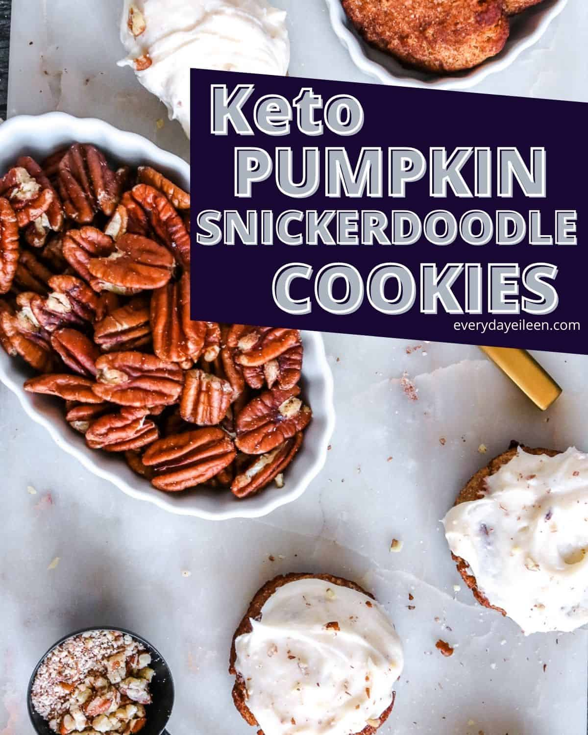 Keto Pumpkin Snickerdoodle Cookies recipe, soft and loaded with flavor. These delightful treats are topped with a luscious cream cheese and pecan frosting that will rock your world. There's no reason to over stress about the carb with these decadently delicious cookies. #ketocookies #ketosnickerdoodle #ketoholidaybaking #everydayeileen via @/everydayeileen/