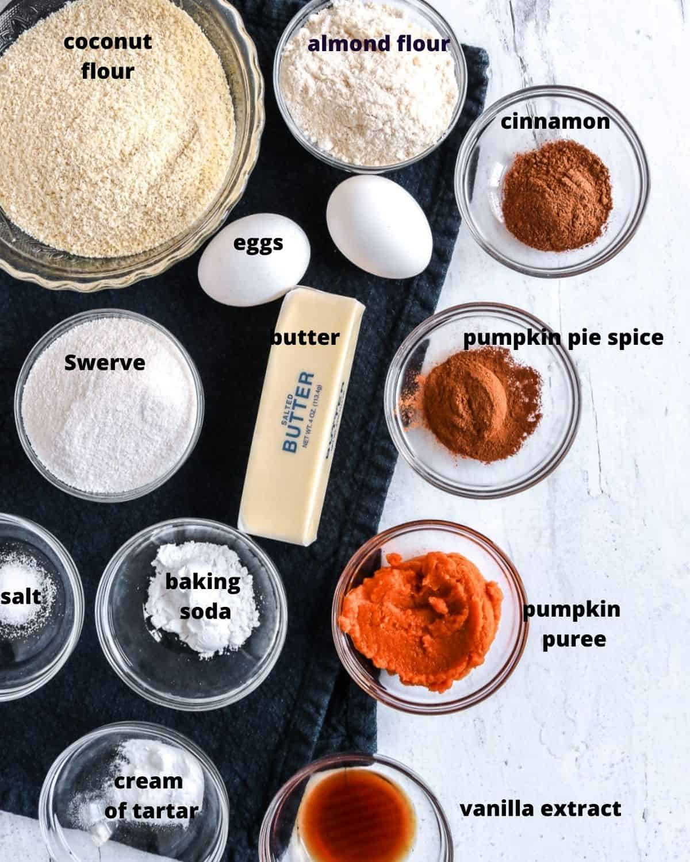 Ingredients to make keto snickerdoodle cookies