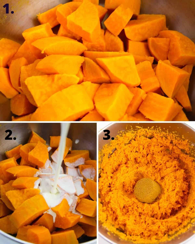 Beginning steps to make mashed sweet potatoes