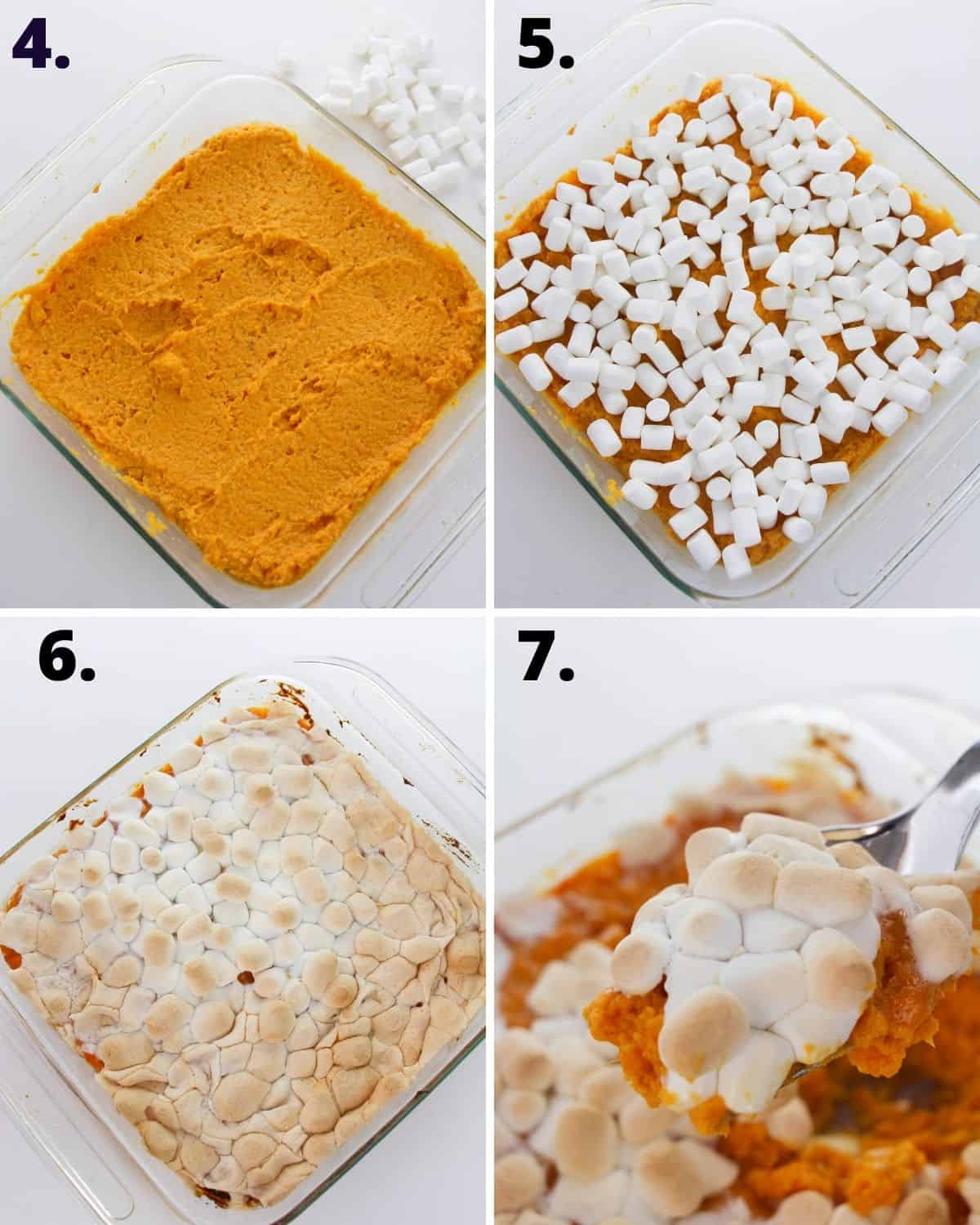 Photos of sweet potato puree in a casserole dish, then topped with marshmallows, baked and served.