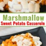 A collage of sweet potatoes topped with marshmallows