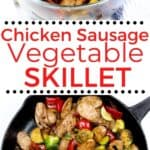 A collage of skillet sausage and veggies. One photo is the sausage and veggies in a glass bowl. The second photo is the sausage veggie combo in a cast iron pan